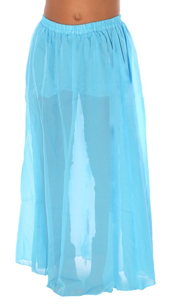 Little Girls Chiffon Belly Dance Costume Skirt - TURQUOISE