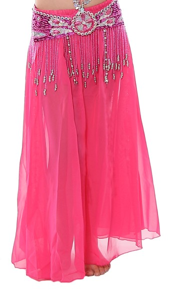Kids Size Chiffon Belly Dance Costume Skirt - DARK PINK