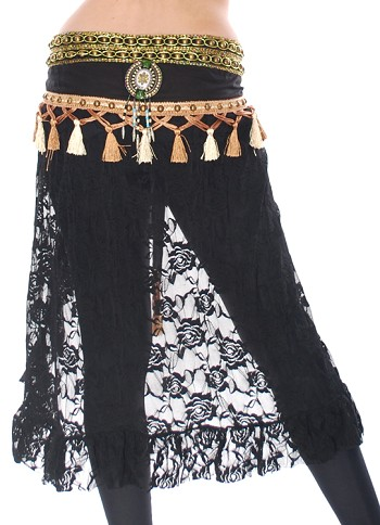 Tribal Fusion Studded Lace Hipscarf Skirt with Tassels - BLACK