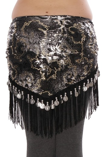 Belly Dance Sequin Hip Scarf with Fringe & Coins - BLACK / SILVER