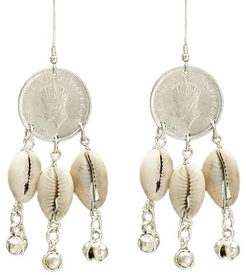 Tribal Belly Dance Coin Earrings with Cowry Shells & Bells - ANTIQUE SILVER