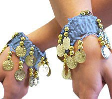 Chiffon Bracelets with Coins (PAIR): POWDER BLUE / GOLD