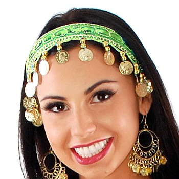 Sequin Belly Dance Costume Headband with Coins - LIME GREEN / GOLD
