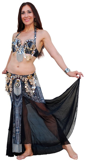 Tribal Fusion Tribaret Belly Dance Costume with Paillettes Chains - BLACK