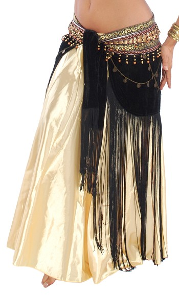 Arabia Coin & Fringe Velvet Belly Dance Hip Scarf Belt