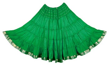 10 Yard Sari Fabric Belly Dance Skirt with Gold Trim - GREEN