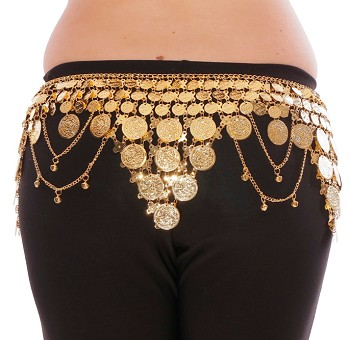 Lightweight Pyramid Coin Belly Dance Belt with Bells & Swags - GOLD