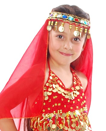 Arabian Princess Bollywood Head Veil with Gems & Gold Coins - RED