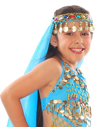 Arabian Princess Bollywood Head Veil with Gems & Gold Coins - TURQUOISE