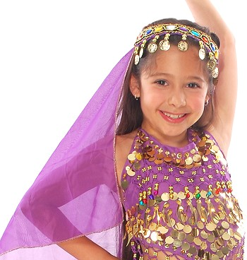 Arabian Princess Bollywood Head Veil with Gems & Gold Coins - PURPLE