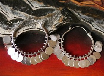 999 Fine Sterling Silver Tribal Coin Hoop Maio Earrings