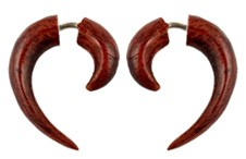 Small Tribal Fishhook Faux Gauge Hand Carved Wood Earrings by Coco Loco - BLOODWOOD