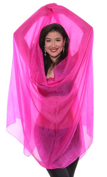 Silk Belly Dance Veil - HOT FUCHSIA