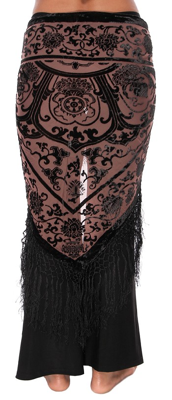 Velvet Medallion Shawl Scarf with Fringe - BLACK on MOCHA