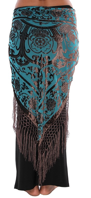 Velvet Medallion Shawl Hip Scarf with Fringe - PHOENIX