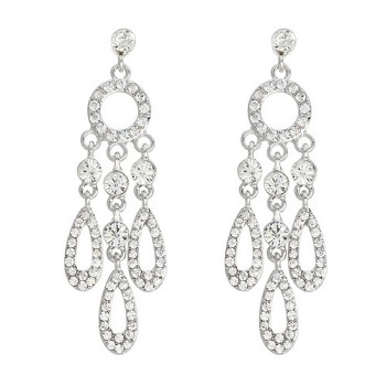 Divine Deco Rhinestone Teardrop Earrings - SILVER