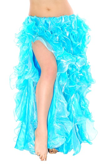 Multi-Layer Egyptian Style Belly Dance Ruffle Skirt - TURQUOISE