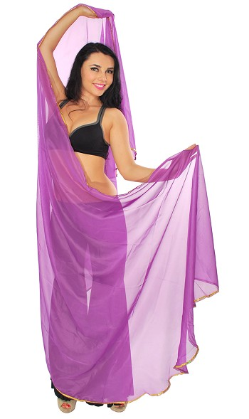 3 Yard Semi-circle Chiffon Veil with Gold Sequin Trim - PURPLE