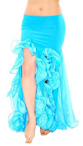 Trumpet Mermaid Skirt with Ruffles & Slits - TURQUOISE