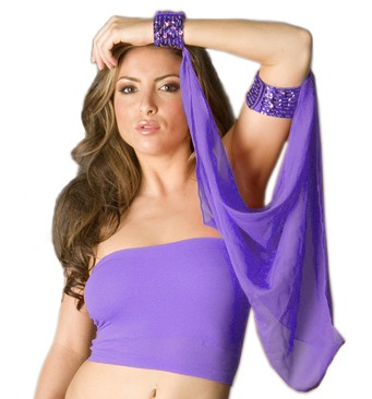 Sequin Armband and Cuff with Chiffon Drape (Assorted Colors)