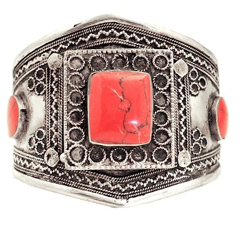 Afghani Kuchi Tribal Cuff Bracelet with Coral Colored Stone Inlays (assorted)