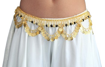Arabesque Belly Dance Coin Belt with Bells & Glass Charms - GOLD / BLACK
