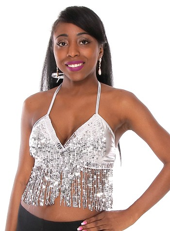 Sequin Fringe Metallic Stretch Dance Top - SILVER