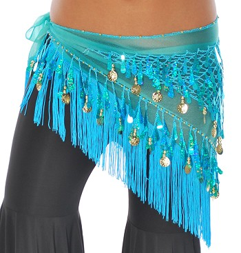 Chiffon Tie-Dye Triangle Hip Scarf with Teardrop Paillettes, Fringe, & Coins - TURQUOISE