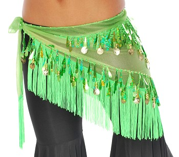 Chiffon Tie-Dye Triangle Hip Scarf with Teardrop Paillettes, Fringe, & Coins - GREEN