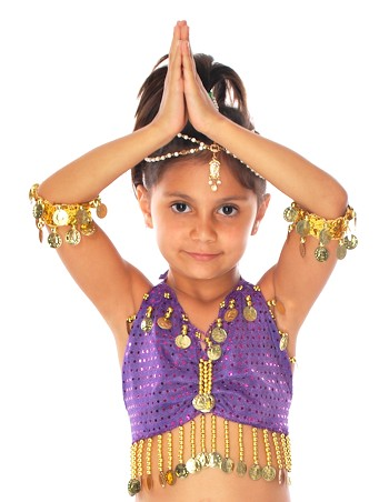 Kids Size Sparkle Dot Belly Dance Costume Top with Coins - PURPLE / GOLD