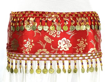 CAIRO COLLECTION: Metallic Print Belly Dance Hip Scarf / Sash with Beads & Coins - RED / GOLD