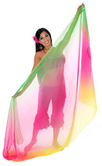 3-Yard Chiffon Ombre Belly Dance Veil - GREEN / FUCHSIA / YELLOW