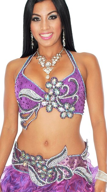 Professional Belly Dance Bra and Belt Costume Set - PURPLE