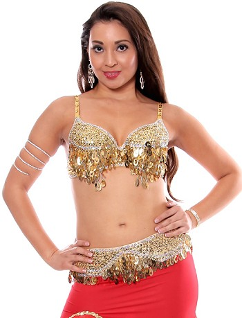 Sequin Beaded Bra and Belt Set with Teardrop Paillettes - GOLD / SILVER