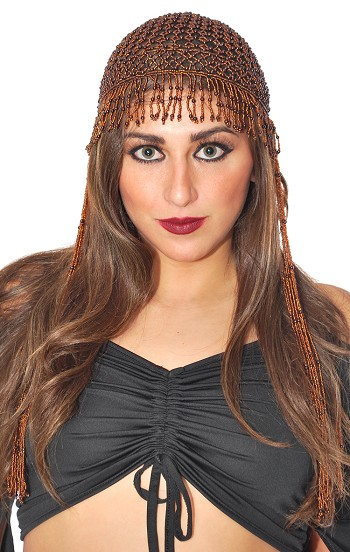 Cleopatra Beaded Belly Dancer Headpiece with Long Fringe - COPPER
