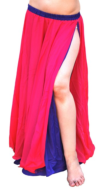 Reversible 2-Layer Chiffon Belly Dance Skirt - PURPLE / FUCHSIA