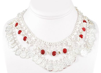 Coin Belly Dance Necklace with Bells and Glass Charms - SILVER / RED