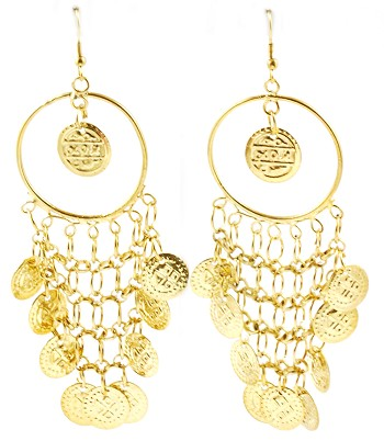 Drop Hoop Belly Dance Earrings with Coins - GOLD