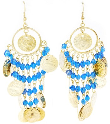 Belly Dance Costume Coin Earrings with Glass Beads - ANTIQUE GOLD / TURQUOISE