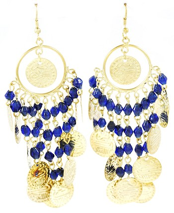 Antique Gold Belly Dance Costume Coin Earrings with Beads - DARK BLUE
