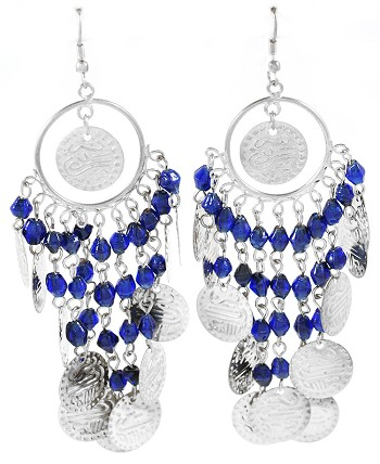 Belly Dance Costume Coin Earrings with Glass Beads - SILVER / BLUE