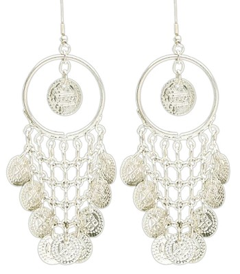 Drop Hoop Belly Dance Costume Earrings with Coins - SILVER