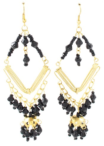 Diamond Shaped Drop Earrings with Beaded Dangles - BLACK / GOLD