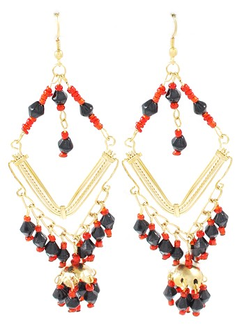 Gold Diamond Beaded Belly Dance Costume Earrings - BLACK & RED