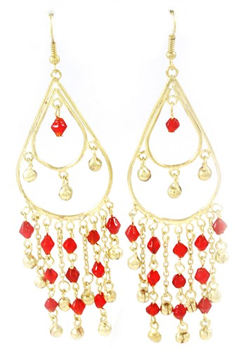 Golden Teardrop Beaded Belly Dance Earrings with Bells - RED