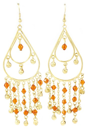 Golden Teardrop Beaded Belly Dance Earrings with Bells - AMBER