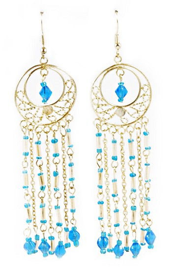 Gold Filigree Beaded Dangle Belly Dance Earrings - TURQUOISE