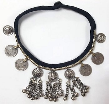 Afghani Tribal Necklace with Medallions, Chains, and Bells