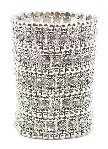 Large 5-Row Crystal Stretch Cuff Bracelet - SILVER