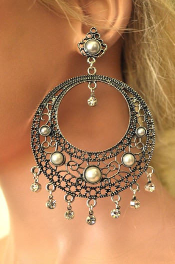 Pearls & Rhinestones Filigree Hoop Earrings - ANTIQUE SILVER